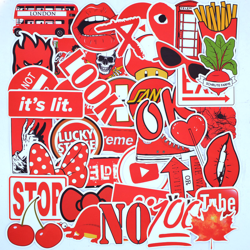 50 PCS Red Brand Cool Fashion Sticker Pack For Children On The Skateboard Laptop Phone Waterproof Stickers