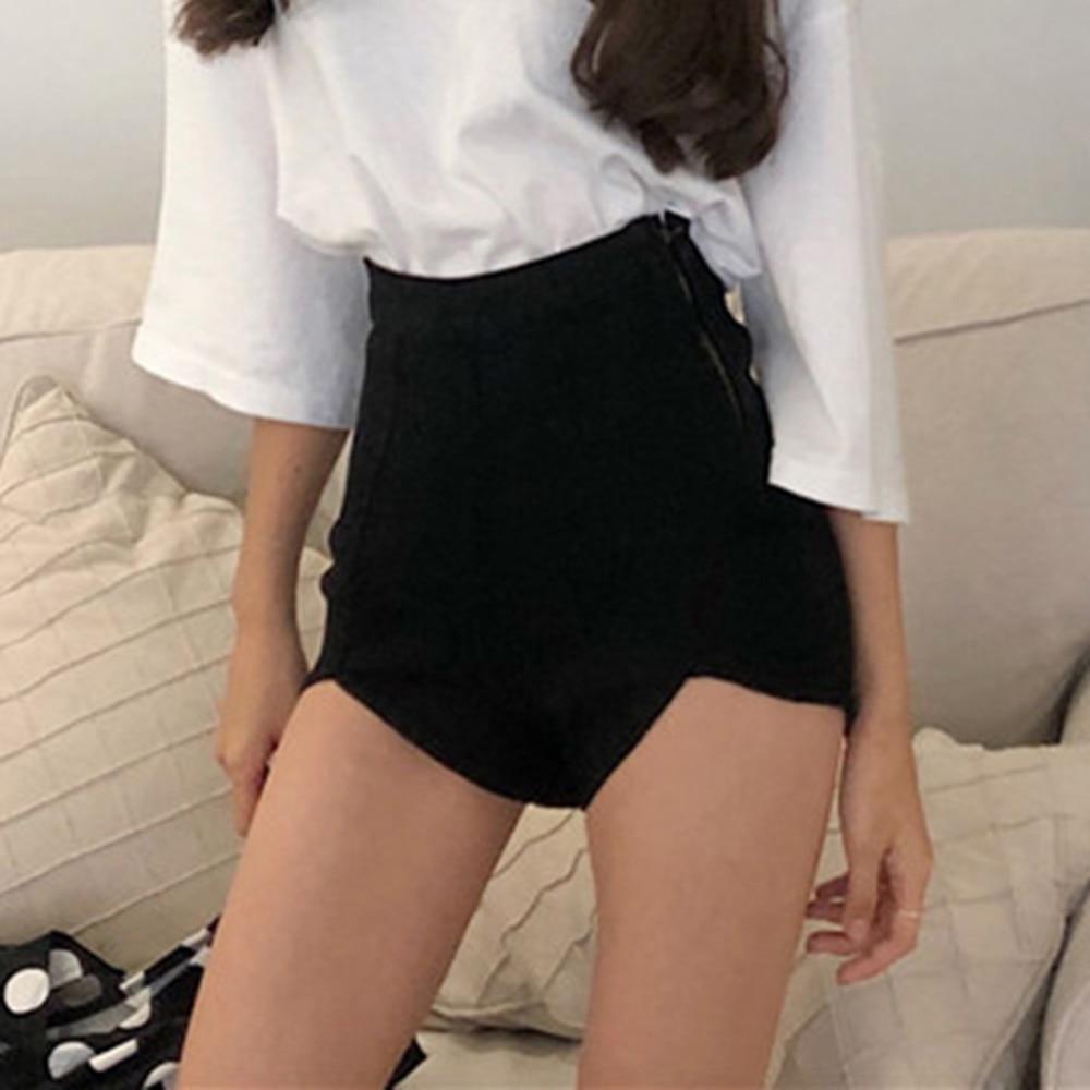 Women Slim High Waist Cotton Jeans Summer Irregular Denim Shorts Tight Side Zipper Ladies Sexy Solid Short