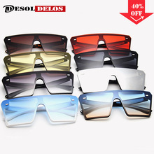 2019 Oversize Square Sunglasses Women Fashion Flat Top Gradient Sun Glasses Men Rimless Large Frame Oculos