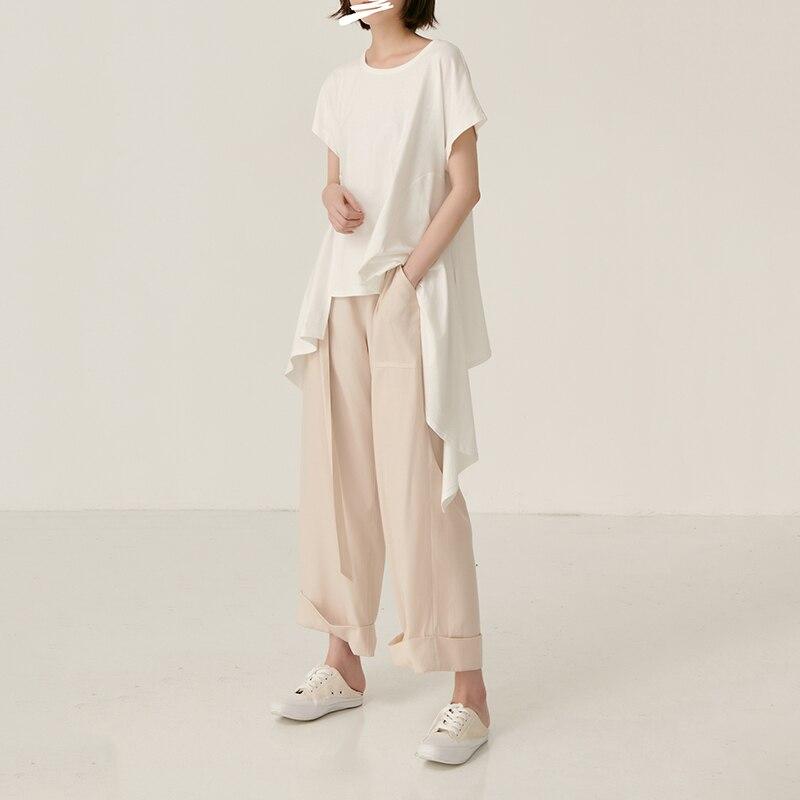[EAM] Women White Asymmetrical Hem Split Temperament  T-shirt New Round Neck Long Sleeve  Fashion Tide  Spring Summer 2020 JY443 3