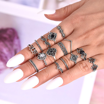 LATS New 15 Pcs/set Bohemian Retro Crystal Flower Leaves Hollow Lotus Gem Silver Women Ring Set 2020 Female Bohemian Jewelry