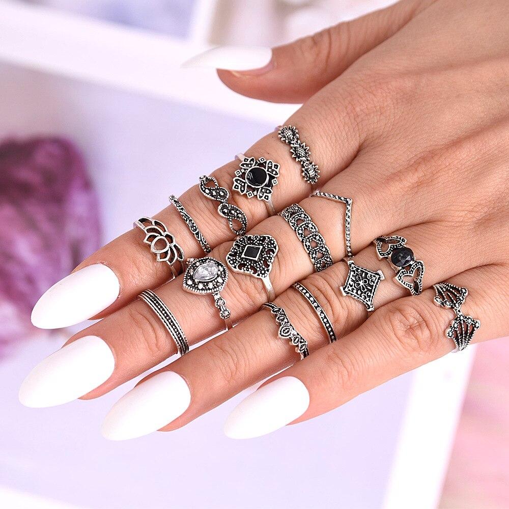 New Design 15 Pcs/set Bohemian Retro Crystal Flower Leaves Hollow Lotus Gem Silver Women Ring Set 2019 Female Bohemian Jewelry