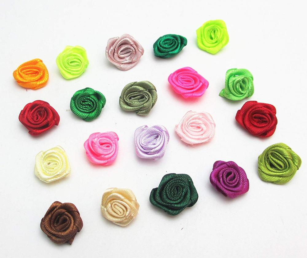 28mm Small Mini Satin Ribbon Flowers Rose Wedding Decor Sewing Appliques DIY