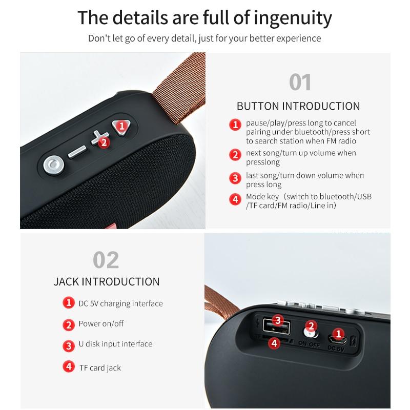T7 Mini Bluetooth Speaker Portable Wireless Loudspeaker Sound System 3D Stereo Music Surround Outdoor Speaker Support FM TFCard 5