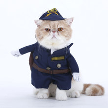1 set Policeman Cats Coats Cat dog cosplay Clothes Costume For Corgi Kitten Puppy Party Uniform Jackets Cloth