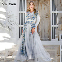 Smileven Moroccan caftan Sky Blue Evening Dresses 3D F lowers Arabic Muslim Special Occasion Dress Evening Party Gowns