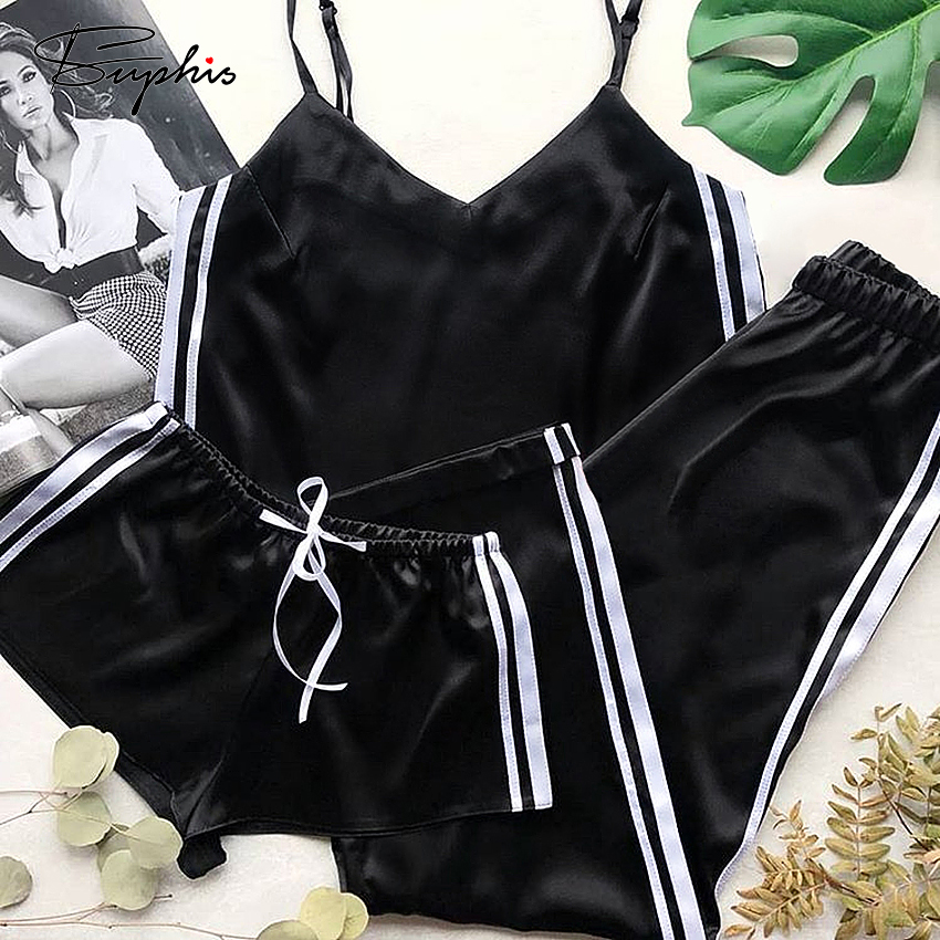 Suphis Side Stripe Pajamas Silk Women Satin Pajama Pants Sexy V Neck Camis Home Sleepwear Shorts Set Female Summer 3 Piece Suit