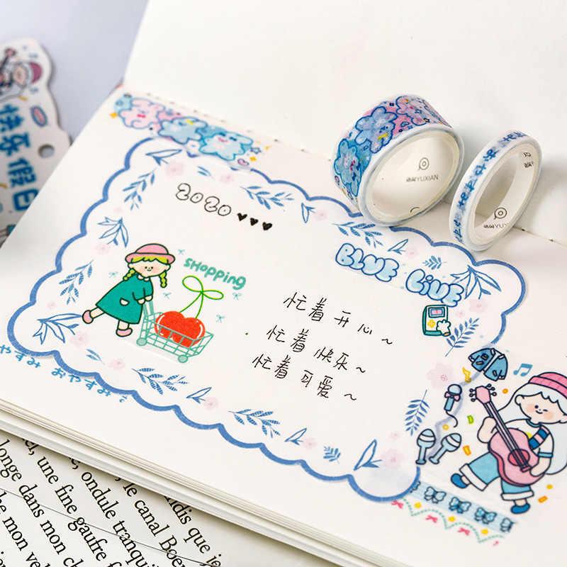 5 unids/set chica serie diaria Kawaii cinta de Washi diario de bala decorativo japonés cinta adhesiva diario tu álbum Scrapbooking DIY Stick