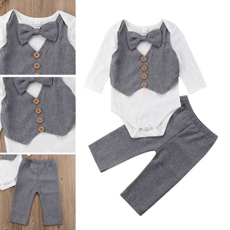 Pasgeboren Baby Jongens Gentleman Outfits Met Boog Peuter Party Wedding Baby Kostuums Bodysuits + Broek 2Pcs Formele Baby Baby suits