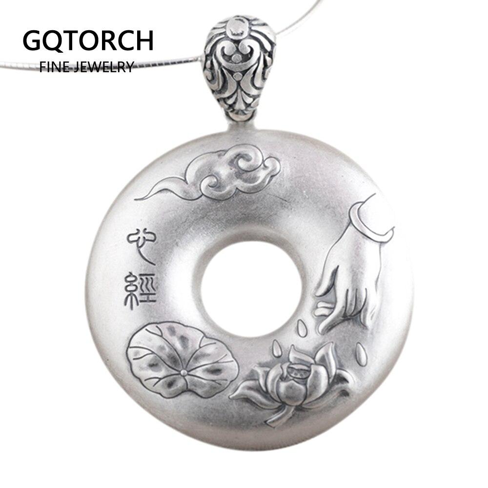 S990 argent Sterling Prajna Paramita coeur Sutra paix fermoir bouddha pendentif pour les femmes avec Lotus gravé mots chinois