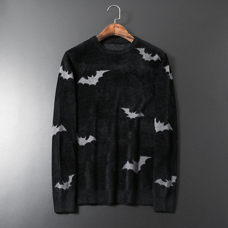 New Men Luxury Gentleman Cotton Embroidery Full Of Bat Casual Sweaters Pullover Asian Plug Size High Quality Drake #N26