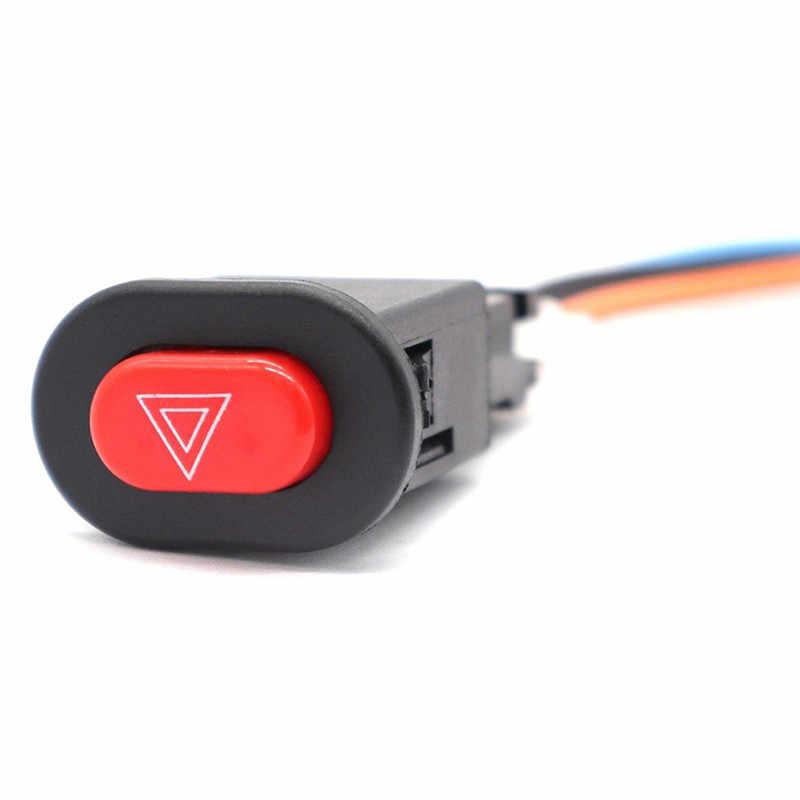 1 PC Motor Tersedak Saklar Lampu Double Peringatan Flasher Darurat Sinyal dengan 3 Kabel Kunci