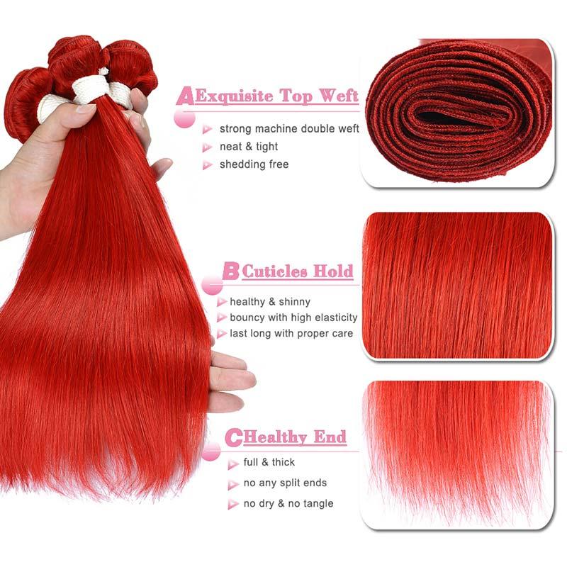 Image 4 - 99J Colored Straight Hair 3/4 Bundles Red Human Hair Bundles Brazilian Honey Blonde Bundles Red Hair Bundles Pinshair Remy HairHair Weaves   -
