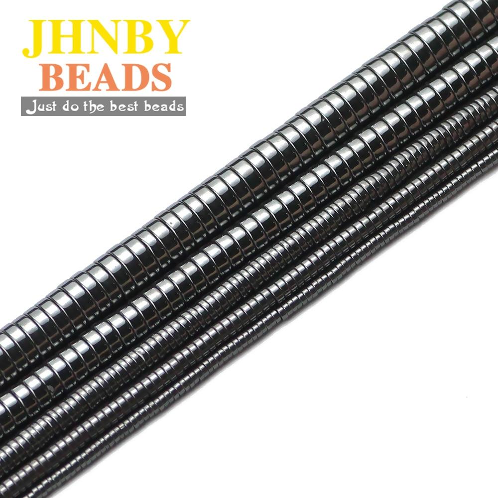 Плоские круглые черные гематитовые бусины JHNBY 2 ~ 8 мм из натурального камня с отверстием для изготовления ювелирных изделий 15,5 дюйма аксессу...