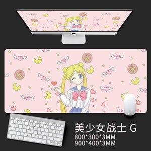 Image 5 - Anime Card captor Sakura denizci ay Unicorn aksiyon figürü su geçirmez masa paspaslar bilgisayar oyun dizüstü klavye matı büyük Mouse Pad