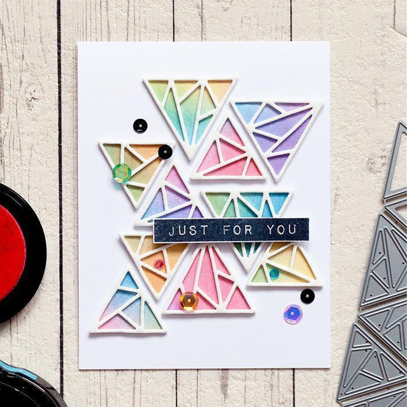 Triangle Background Set Metal Cutting Dies Stencil For DIY Scrapbooking Photo Album Paper Card Decorative Craft Diecuts
