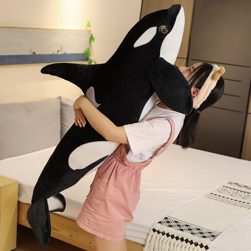 1pc Giant Killer <font><b>whale</b></font> Orcinus <font><b>orca</b></font> black and white <font><b>plush</b></font> toy doll shark kids boys girls soft toys baby toys stuffed animals image