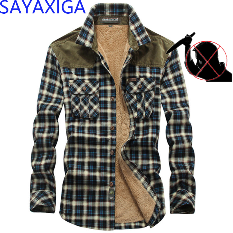Self Defense Anti Cut Knife Resistant Plaid Shirt Blade Stab Proof Long Sleeve Velvet Men Shirt  Family Safety Security Clothes