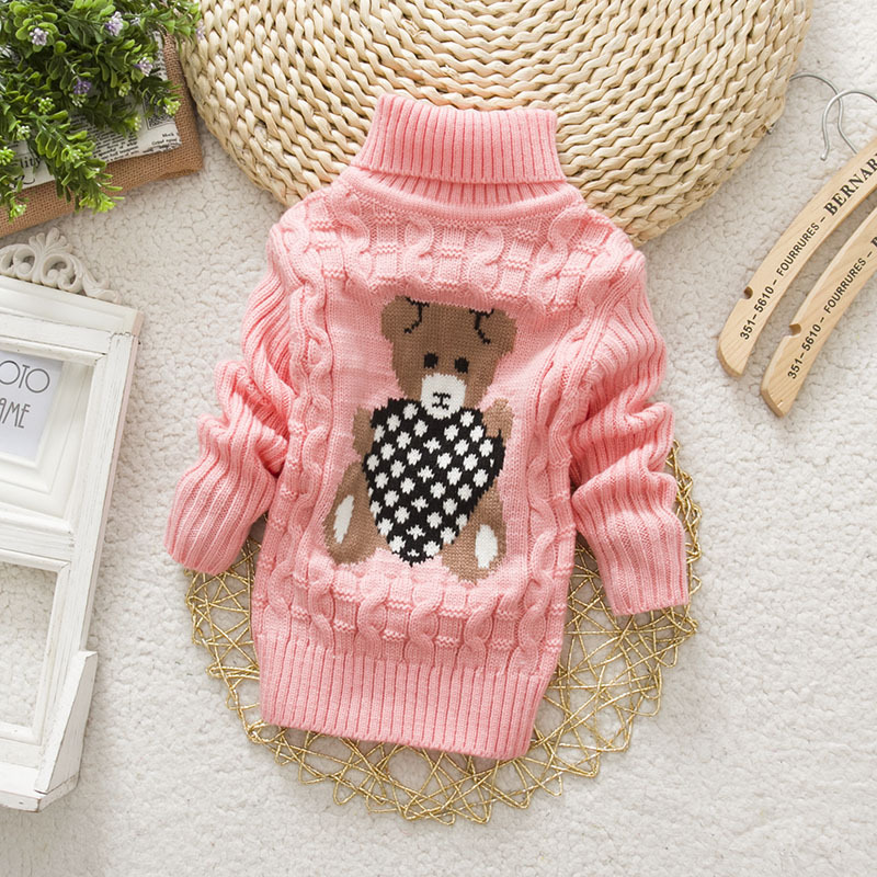 PHILOLOGY 2T-8T bear winter boy girl kid thick Knitted bottoming turtleneck shirts baby high collar pullover toddler sweater 5