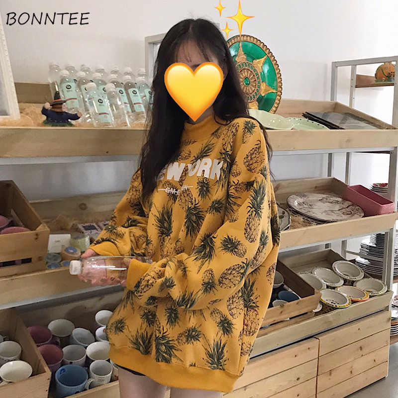 Hoodies Women Harajuku Loose Leisure All-match Trendy Printed Womens Clothing Korean Style Long Sleeve Autumn Thickening Chic