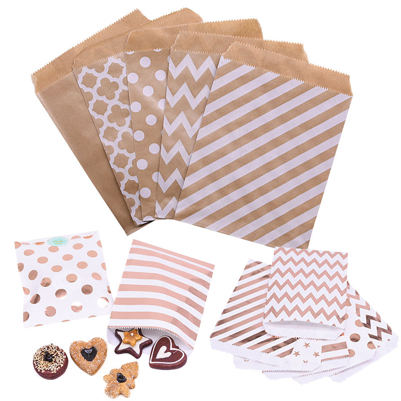 25pcs Rose Gold Silver Kraft Paper Bags For Gifts Food Cookie Biscuits Candy Bag Packaging Christma Wedding Birthday Party Decor