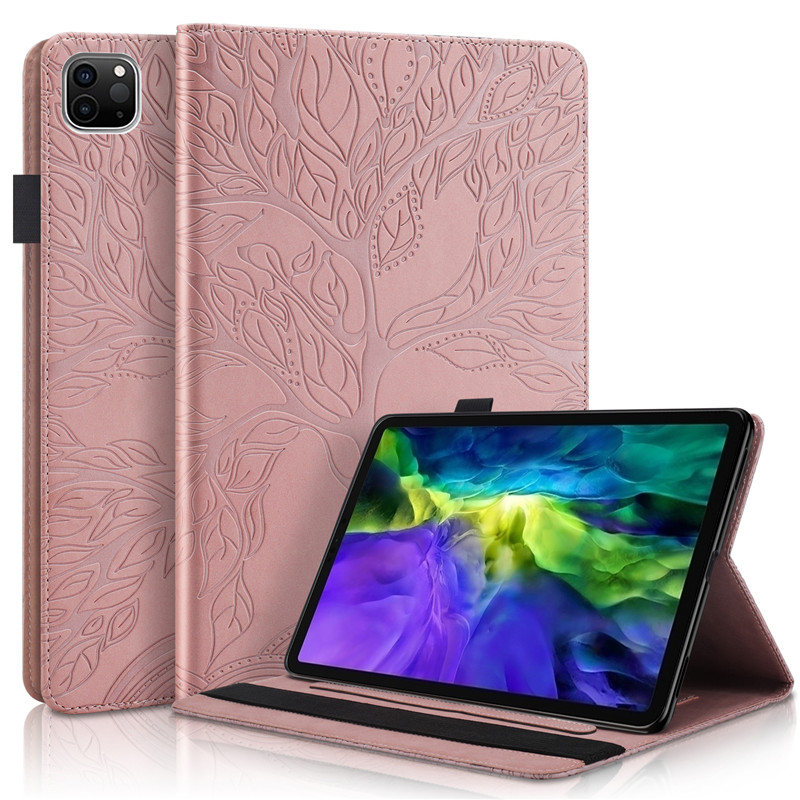 rose gold Red Emboss Tree PU Leather Flip Case for Funda iPad Pro 11 2020 Case Wallet Stand Tablet