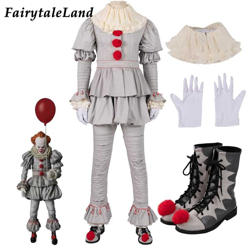 Stephen King's capitolo 2 Cosplay Costume SI Danza Clown Pennywise Pieno Del Vestito di Halloween di Terrore Movie cosplay Vestito Stivali