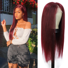 Wigs Human-Hair Lace-Front Burgundy Black Pre-Plucked Straight Women Brazilian Red 99J