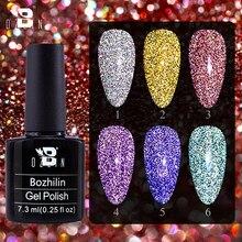 BOZLIN 7.3ML Colorful Reflective Gel Nail Polish Glitter Nail Art Diamond Gel Holographic Effect Soak Off UV Gel For Nails