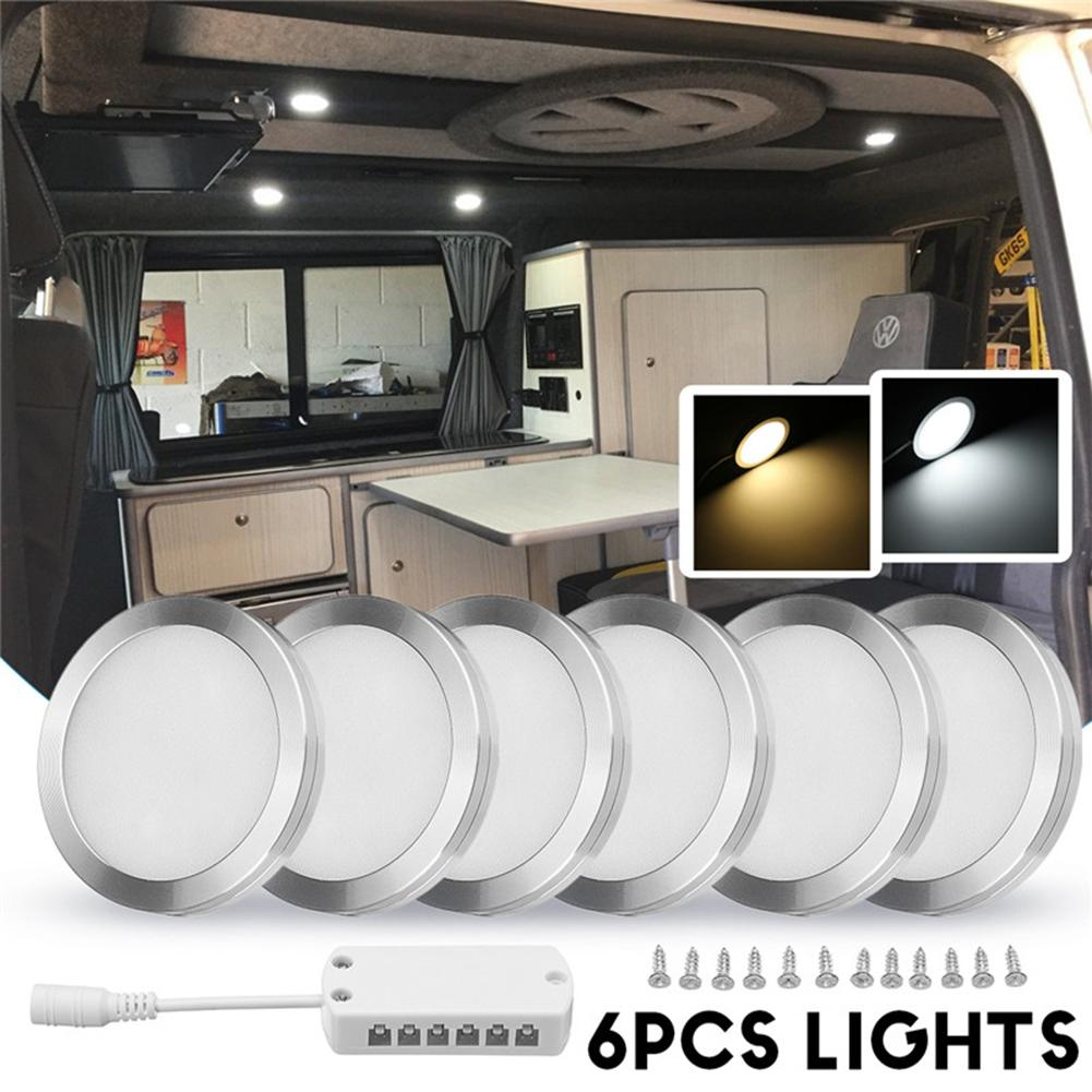 6Pcs DC 12V LED Dome Panel Interior Spot Lights For RV Camper Truck Caravans