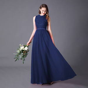 Image 2 - Evening Dress A line High Neck Long Dress Floor Length Sleeveless Chiffon Elegant Evening Party Gowns Appliques Wedding Guest
