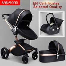 Babyfond коляска 3в1, высокий пейзаж, складная, двусторонняя, ударная, детская коляска, может сидеть и лежать, светильник на колесиках