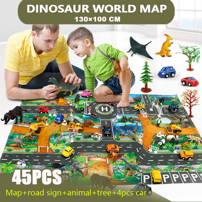 45Pcs Dinosaur World Map Toy Car Model Game Mat Interactive Children's Playhouse Toys (signpost + Dinosaur + Map + Tree + Car)