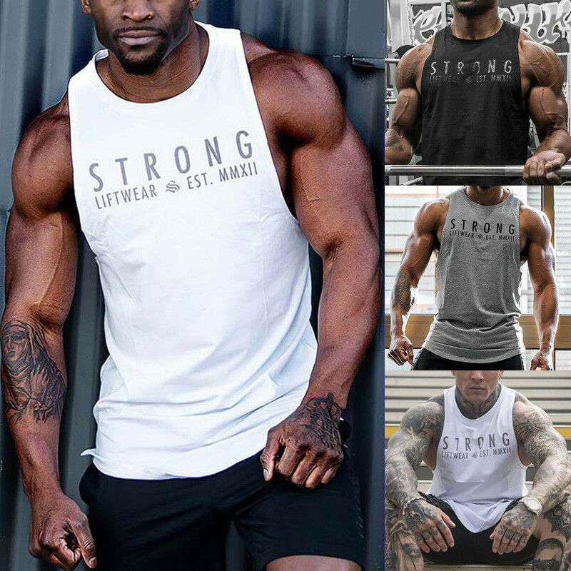 Summer Autumn Fashion Mens Fitness Activewear Tops Bodybuilding Muscle Tee Vests Muscle Men Vests Casual Tops