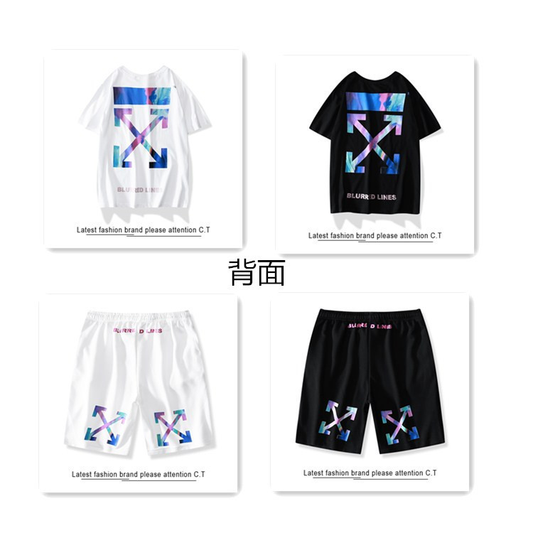 European And American Streets Hiphop-Style Short Sleeved Shorts Suit Crew Neck Printing Short-sleeved T-shirt Men And Women Popu