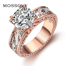 Mossovy Geometric Openwork Rose Gold Flower Rings for Women Jewelry Fashion Engagement Alloy Wedding Female Anillos Mujer