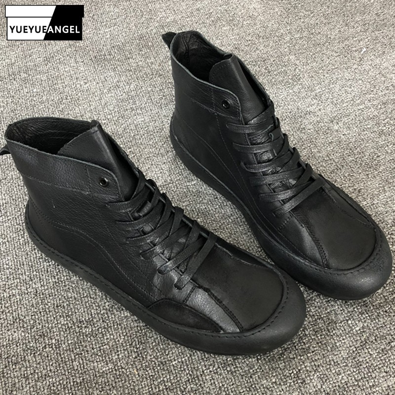 Winter Mens High Top Casual Genuine Leather Ankle Boots Lace Up Flats Sneakers Shoes 2019 New Joggers Biker Safety Boots Black