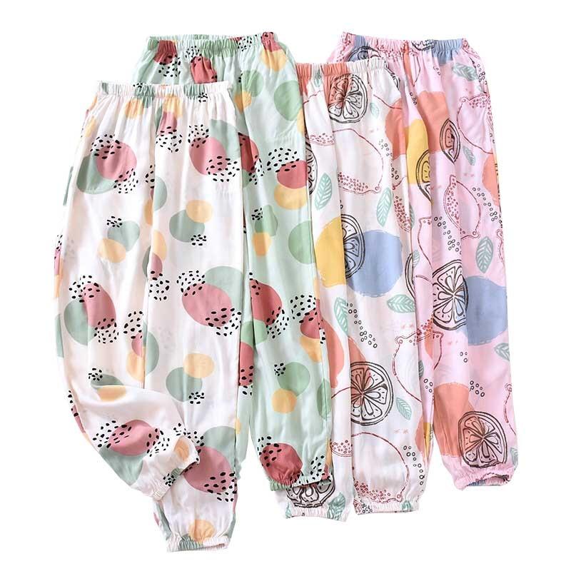 Spring And Summer New Ladies Sleep Bottom Cartoon Fruits Printed Comfort Cotton Satin Pants Women Loose Soft Homewear Bottoms
