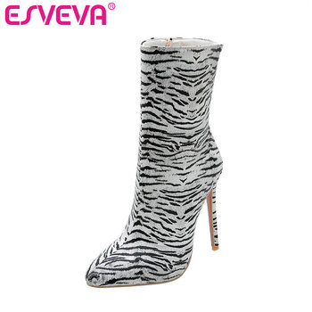 ESVEVA 2020 Women Shoes Ankle Boots Pointed Toe Sexy Western Style Zipper Thin High Heel Motorcycle Platform Boot Size 34-43