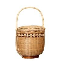 2019 newest!!! home basket bamboo picnic basket with lid food storage basket