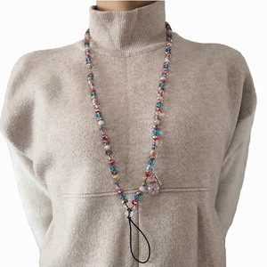 Image 5 - Vrouwen telefoon lanyard opknoping hals crystal kleurrijke gemengde telefoon opknoping nek touw crystal sleutelhanger badge sling universele Bandjes