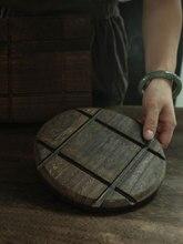 חום בידוד כרית טבעי מוצק עץ שרוף פאולוניה אנטי רותח סיר עגול כיכר בציר מזון אבזרי צילום