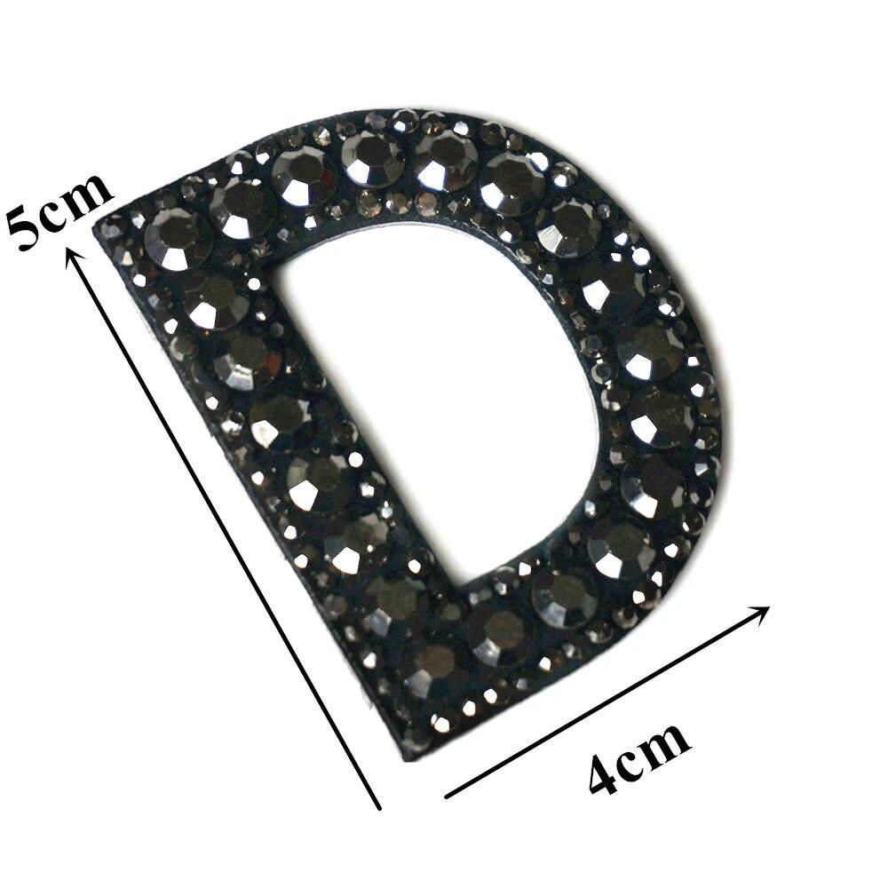 Черные стразы 26 букв алфавита ABC пришить железные нашивки блестящие Значки для имени DIY платье джинсы Аппликации украшения - Цвет: D