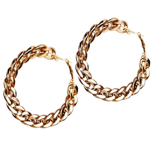 8Seasons Fashion Women Hoop Earrings Gold Metal Round Hollow Wedding Party Punk Style Earring Jewelry Gift 83mm x 83mm, 1 Pair pair of punk rivet studded hoop earrings