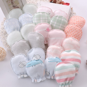10 pairs/lot Cotton Baby Mittens Cartoon Soft Face Protection Newborn Baby Anti Scratching Gloves Random Delivery
