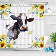 Занавеска для душа Акварельная Подсолнух корова фермерская ферма