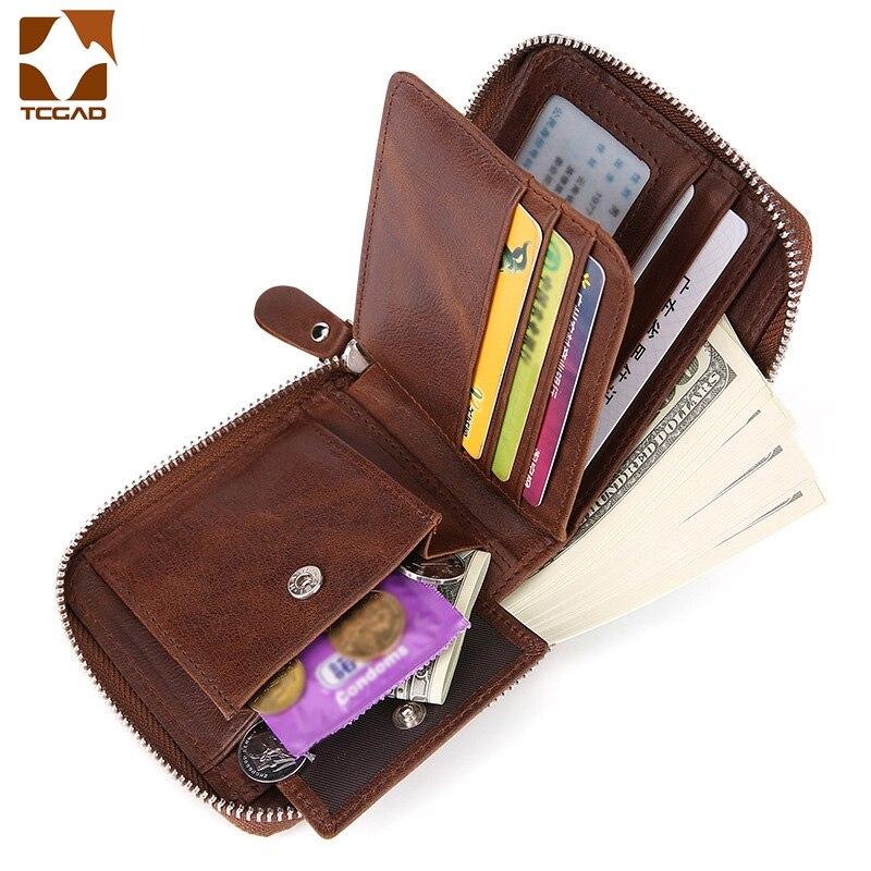 Money Bag For Man Wallet Made Of Nature Leather Short Money Bag Dollar Coin Zip Small Purse Big Capacity Retro Pocket Men Wallet
