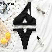 Simplee One shoulder women bikini set Push up sexy white swimwear bathing suit Buckle thong bikini 2019 summer female swimsuits