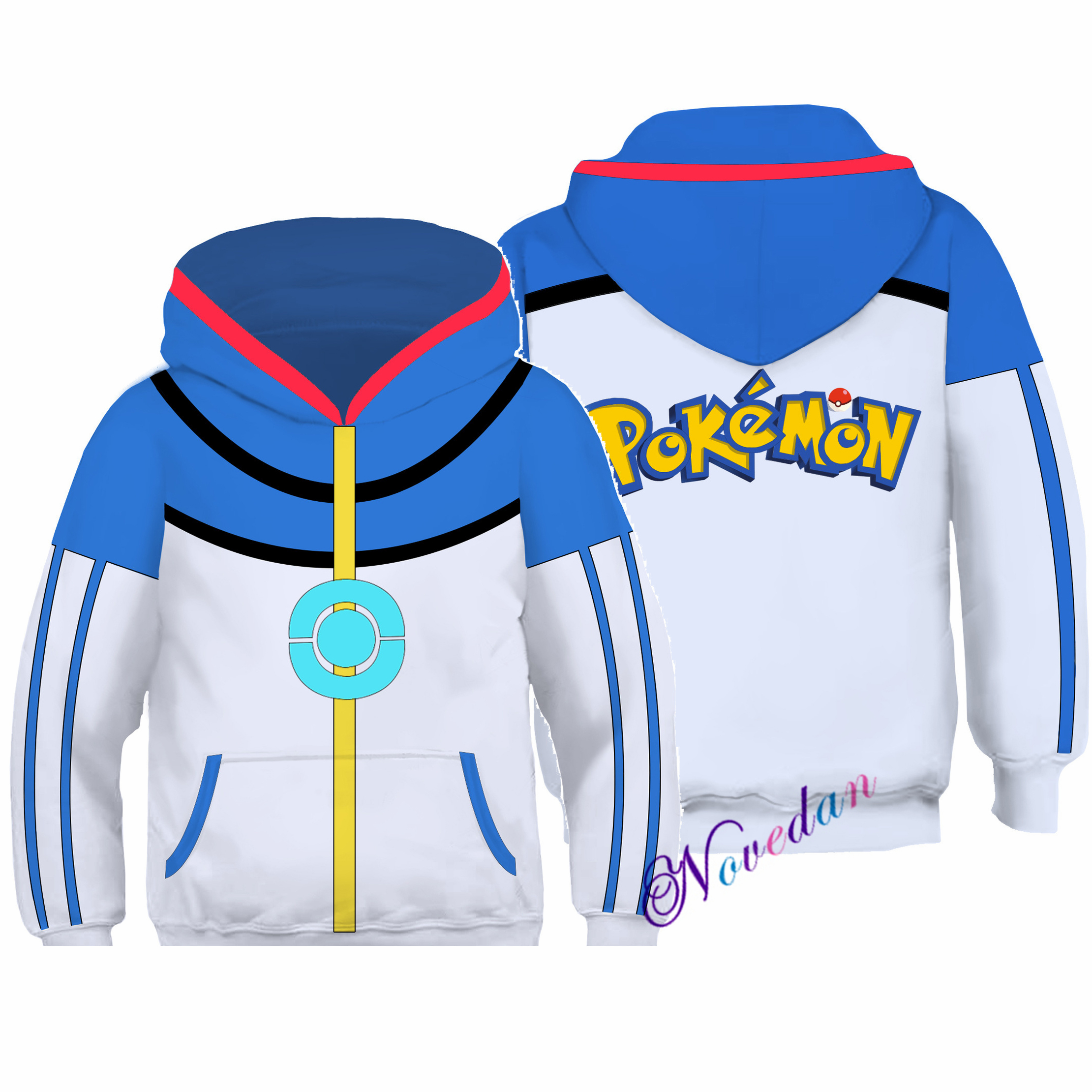 Kids Pokemon Ash Ketchum Cosplay Costume Japanese Anime Hoodie Sweatshirt Boys Child Halloween Christmas Pullover Jacket