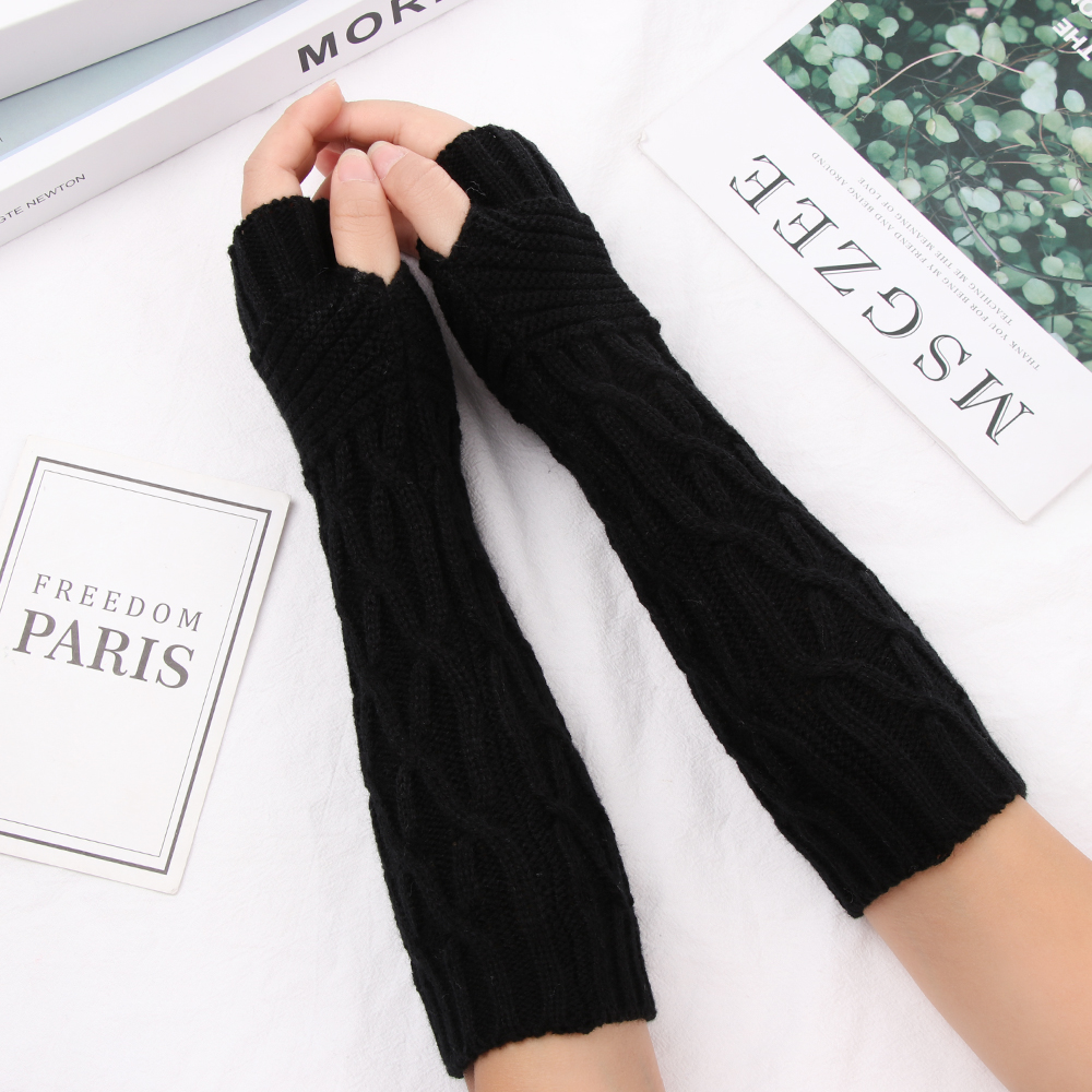 1 Pair Autumn Winter Women Knit Gloves Arm Wrist Sleeve Arm Warmers Solid Long Knitted Fingerless Gloves Wholesale